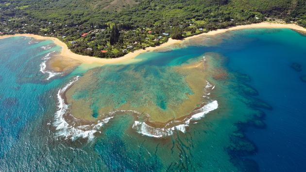 An aerial view of Tunnels Beach, Kauai.