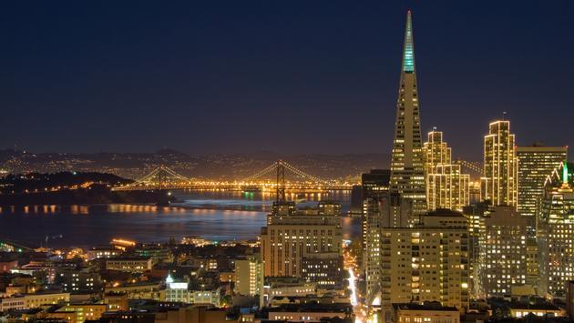 Downtown San Francisco lit up for Christmas