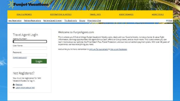 Funjet Vacations login page on VAX Vacation Access