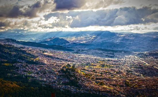 A birds-eye view of Bogota, Colombia taken from the top of Monserrate Mountain.