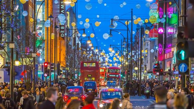 Oxford street at Christmas time, London.