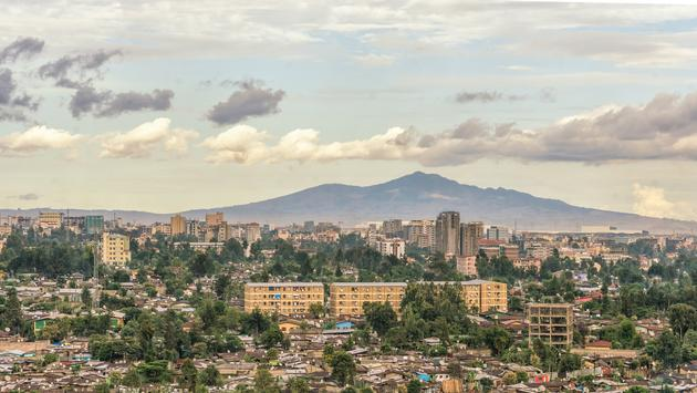 An aerial view of Addis Ababa, the capital city of Ethiopia.
