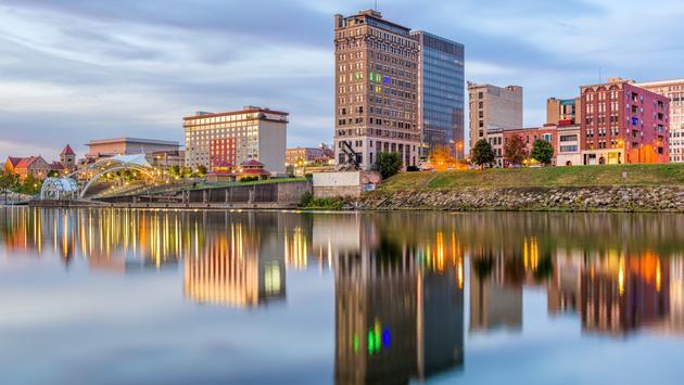 The Charleston, West Virginia, skyline reflected in the Kanawha River.