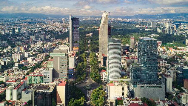 An aerial view of he upscale Paseo de la Reforma in Mexico City< Mexico.