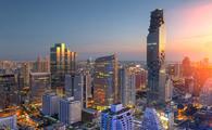 Aerial view of Bangkok modern office buildings, condominium