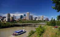 A riverboat cruises the North Saskatchewan River in Edmonton, Alberta, Canada