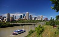 A riverboat cruises the North Saskatchewan River in Edmonton, Alberta, Canada
