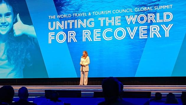 WTTC President and CEO Gloria Guevara speaks at the 2021 Global Summit in Cancun