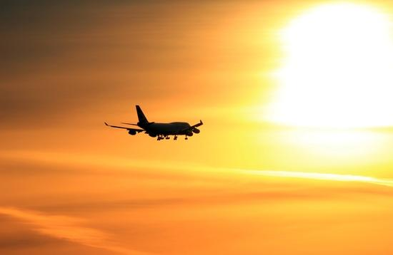 Airliner in silhouette
