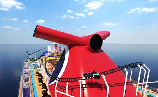 Rendering of BOLT: Ultimate Sea Coaster aboard Carnival Cruise Line's Mardi Gras