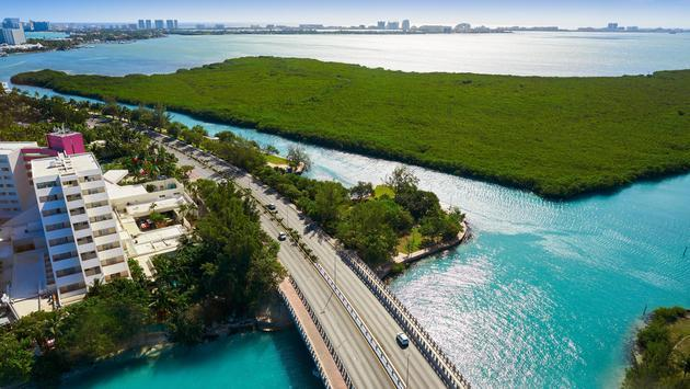 Aerial view of Cancun's Hotel Zone