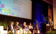 Travel industry leaders participate in a panel during the fourth Caribbean Hospitality Industry Exchange Forum at the Hyatt Regency Miami. Panelists included (photographed from left to right): Gregor Nassief, Jane Watkins, Jacqueline Peterson, Carla Campos, Nikheel Advani and Mark Murphy. (Photo courtesy of Joe Pike)