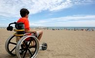 boy, wheelchair, beach, beach wheelchair