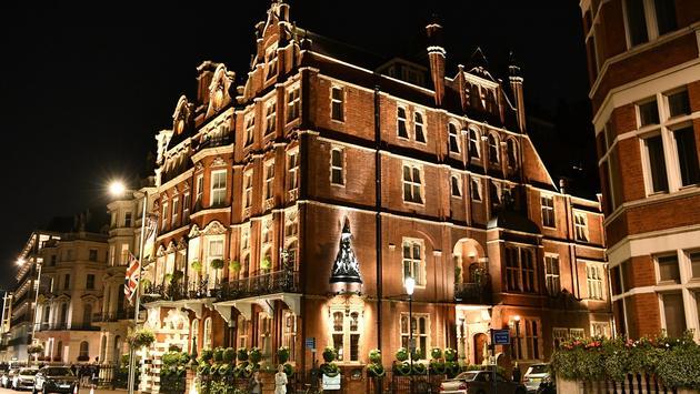 The Milestone Hotel exterior at night, London