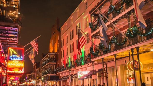 New Orleans French Quarter decked out for Christmas