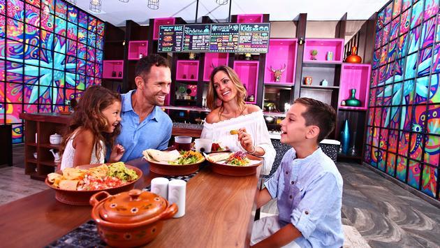 Enjoying a meal at Sandos Playacar