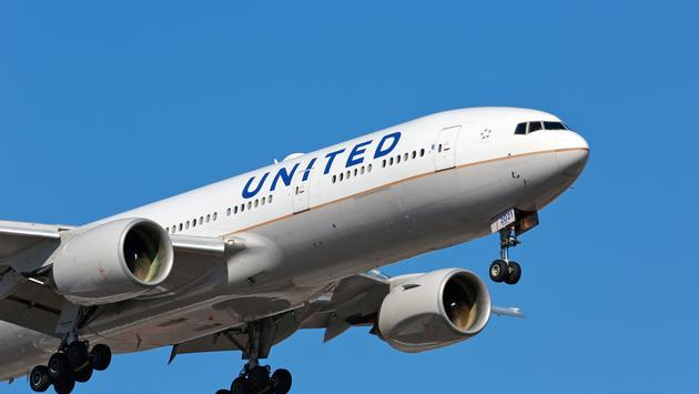 United Airlines flight arriving in Chicago