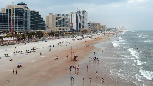 Busy Daytona Beach coastline