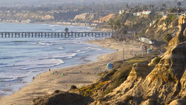 California coastline with the San Clemente pier in the distance