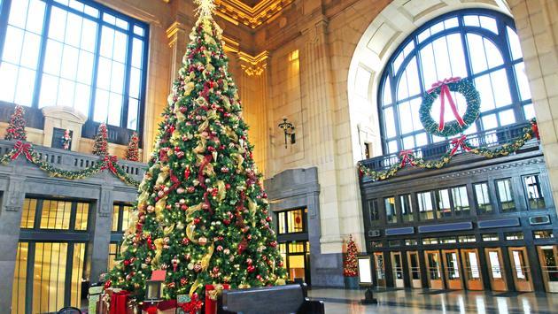 Beautiful Christmas Tree decorated inside Union Station in Kansas City, MO.