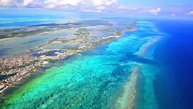 San Pedro Town and the Belize Barrier Reef beyond on Ambergris Caye, Belize.