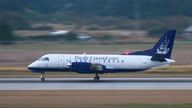 WestJet Link flights will be operated by Pacific Coastal Airlines on Saab 340 aircraft similar to this, painted in a WestJet Link livery.