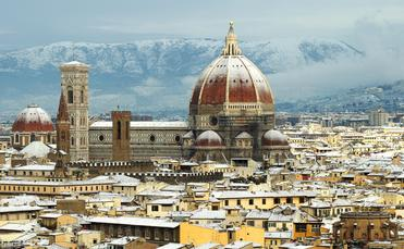 winter with snow in Florence, Tuscany, Italy