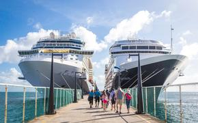 Cruise passengers return to ships at Port Zante in St Kitts