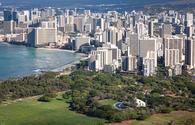 View of the Waikiki Shell with Downtown Waikiki in the background
