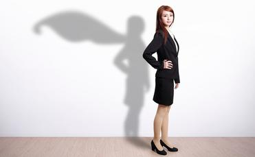 superhero business woman travel agent hero cape