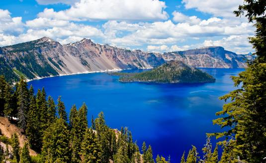 Gorgeous Crater lake on a summer day