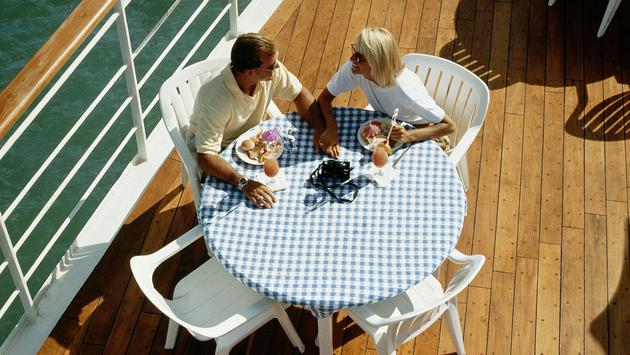 Couple having lunch on cruise