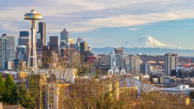 Seattle skyline with Mt. Rainier in the distance.
