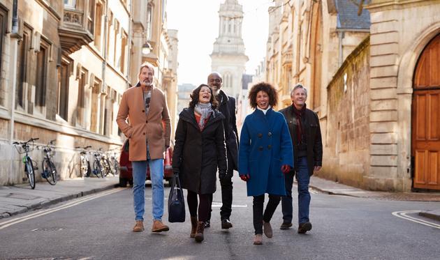 Group tour walking