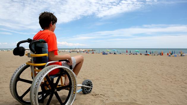 boy, wheelchair, beach, beach wheelchair