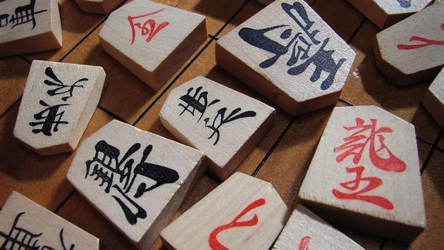 Japanese chess pieces or shogi