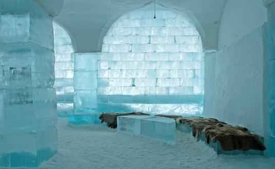 Interior of the Icehotel in Sweden