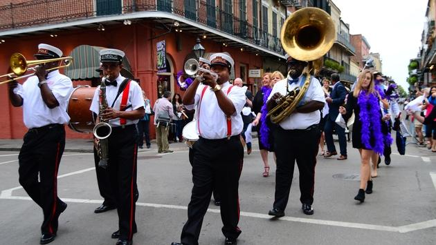 Musicians, French Quarter, march, parade, New Orleans