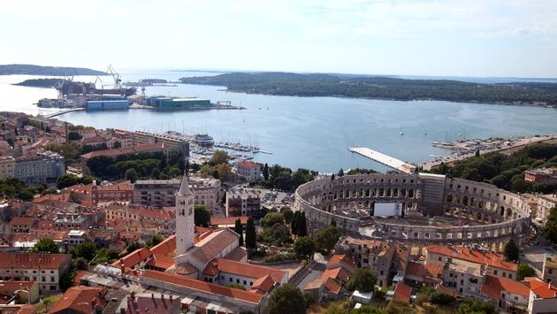 Aerial view of the ancient Roman amphitheater in Pula, Croatia.