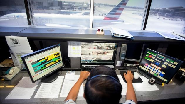 American Airlines tower team member monitoring gate traffic