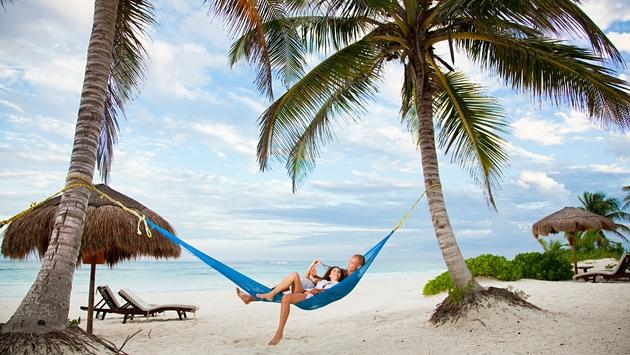 Couple in hammock on vacation