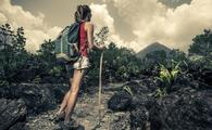 Woman hiking Arenal Volcano National Park in Costa Rica