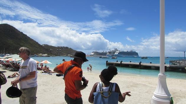 St. Maarten shoreline with the cruise ship port in the distance.