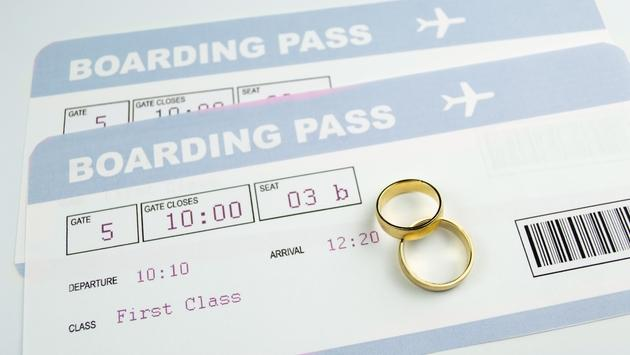 Boarding passes for a married couple