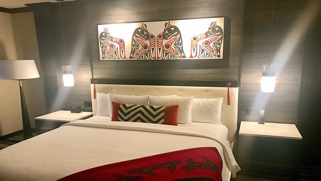 A guestroom at Tulalip Resort Casino near Seattle