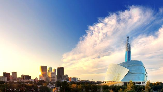The stunning Canadian Museum for Human Rights towers over the Winnipeg skyline.
