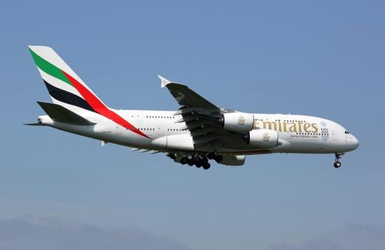 Emirates Airbus A380 approaching London Heathrow Airport