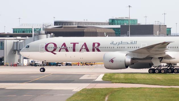 Qatar Airways Boeing 777 taxiing at Manchester Airport