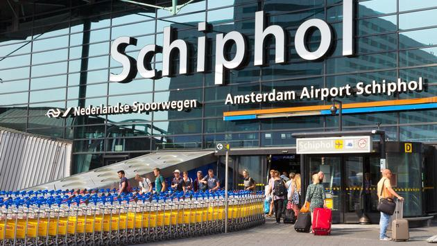 The entrance to Amsterdam Airport Schiphol.