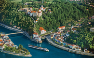 River and aerial of town